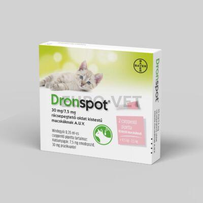 Dronspot 30 mg/7,5 mg rácsepegtető oldat kistestű macskáknak A.U.V. (0,35 ml; 2,5 kg alatti macskáknak) 1 db ampulla bontott dobozból
