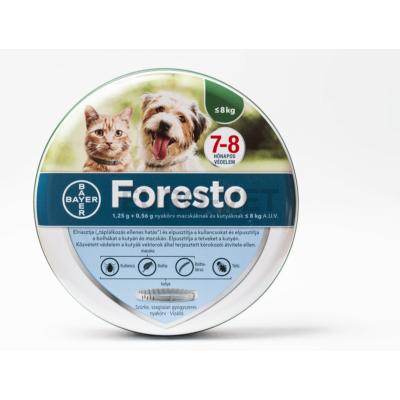 Foresto 1,25 g + 0,56 g nyakörv macskáknak és kutyáknak 8 kg-ig A.U.V. (38 cm) (rendeled hármasával)
