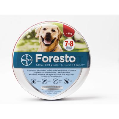 Foresto 4,50 g + 2,03g nyakörv kutyáknak 8 kg-tól A.U.V. (70 cm) + ledes dísz