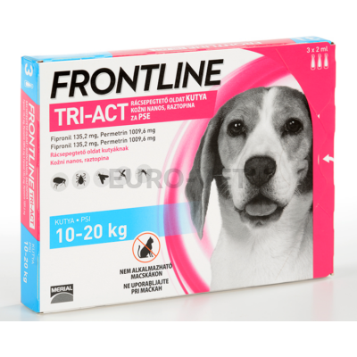 Frontline Tri-Act rácsepegtető oldat 10-20 kg-os kutyáknak (3 db x 2 ml ampulla)