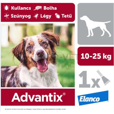 Advantix spot on - rácsepegtető oldat 10-25 kg közötti kutyáknak A.U.V. 1 db 2,5 ml ampulla bontott dobozból