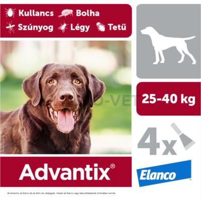 Advantix spot on - rácsepegtető oldat 25-40 kg közötti kutyáknak A.U.V. 4 db 4,0 ml ampulla