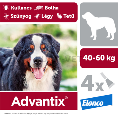 Advantix spot on - rácsepegtető oldat 40-60 kg közötti kutyáknak A.U.V. 4 db x 6 ml ampulla