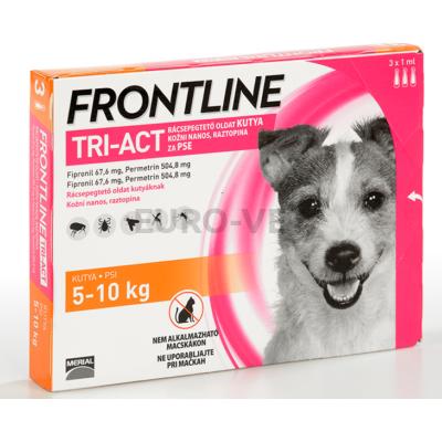 Frontline Tri-Act rácsepegtető oldat 5-10 kg-os kutyáknak (3 db x 1 ml ampulla)