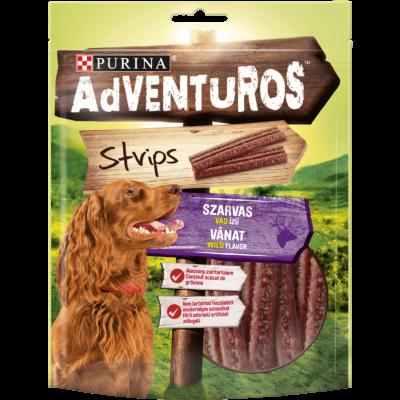 ADVENTUROS Strips Szarvas, vad ízű kutya jutalomfalat 90g