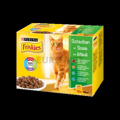 FRISKIES Szószban Marhával/Csirkével/Tonhallal/Tőkehallal nedves macskaeledel 12x100g