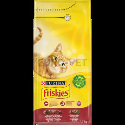 FRISKIES Marhával, csirkével és zöldségekkel száraz macskaeledel 1,7 kg