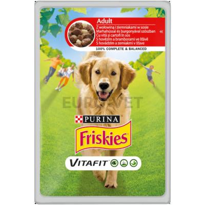 FRISKIES Marhával és burgonyával szószban nedves kutyaeledel 100g