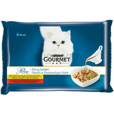GOURMET PERLE GRAVY DELIGHT Csirkével/Marhával nedves macskaeledel 4x85g