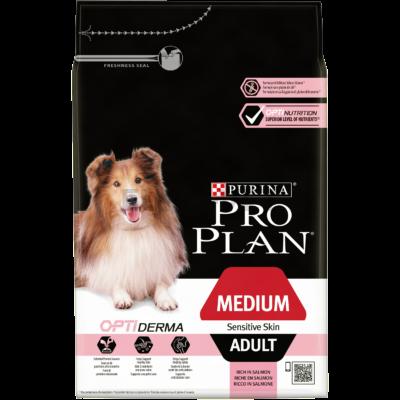 Pro Plan Medium Adult Sensitive Skin OPTIDERMA 3 kg