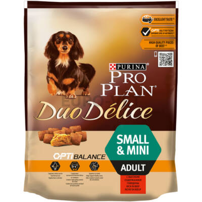 PRO PLAN Small & Mini Adult OPTIBALANCE DUO DÉLICE marhában gazdag száraz kutyaeledel 700 g