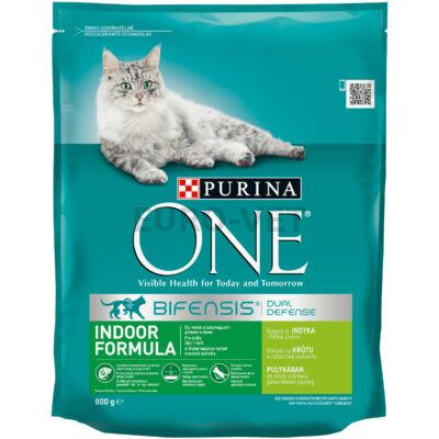 ONE INDOOR FORMULA Pulykában és teljes kiőrlésű gabonákban gazdag száraz macskaeledel 800g