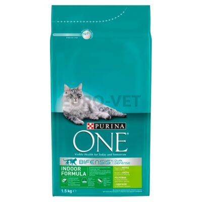 ONE INDOOR FORMULA Pulykában és teljes kiőrlésű gabonákban gazdag száraz macskaeledel 1,5kg