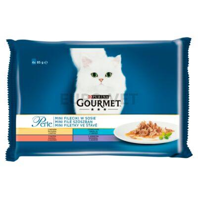 GOURMET PERLE pulyka/tonhal/kacsa/bárány nedves macskaeledel 4*85 g