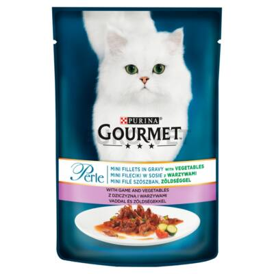 GOURMET PERLE Vaddal és zöldségekkel nedves macskaeledel 85g