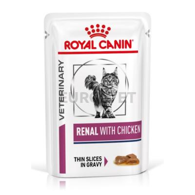 Royal Canin Renal with Chicken Wet Pouch - nedves gyógytáp vesebeteg felnőtt macskák részére  csirkével 85 g