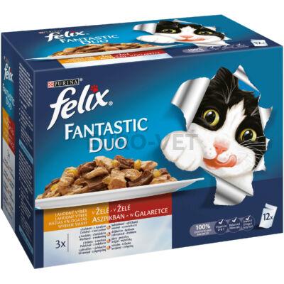 FELIX FANTASTIC DUO Házias válogatás aszpikban nedves macskaeledel 12x100g