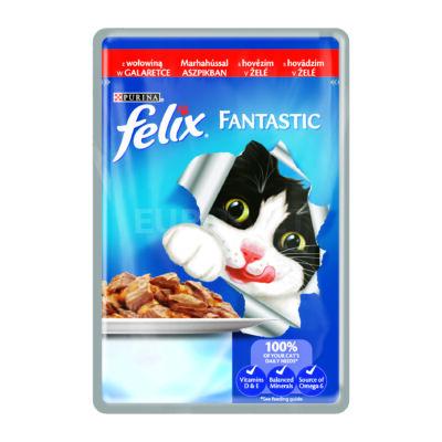 FELIX FANTASTIC Marhával aszpikban nedves macskaeledel 100g
