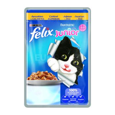 FELIX FANTASTIC Junior Csirkével aszpikban nedves macskaeledel 100g