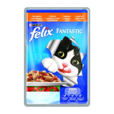 FELIX FANTASTIC Csirkével és paradicsommal aszpikban nedves macskaeledel 100g