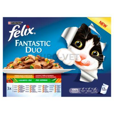 Felix Fantastic Duo Házias válogatás zöldséggel aszpikban nedves macskaeledel 12x100 g
